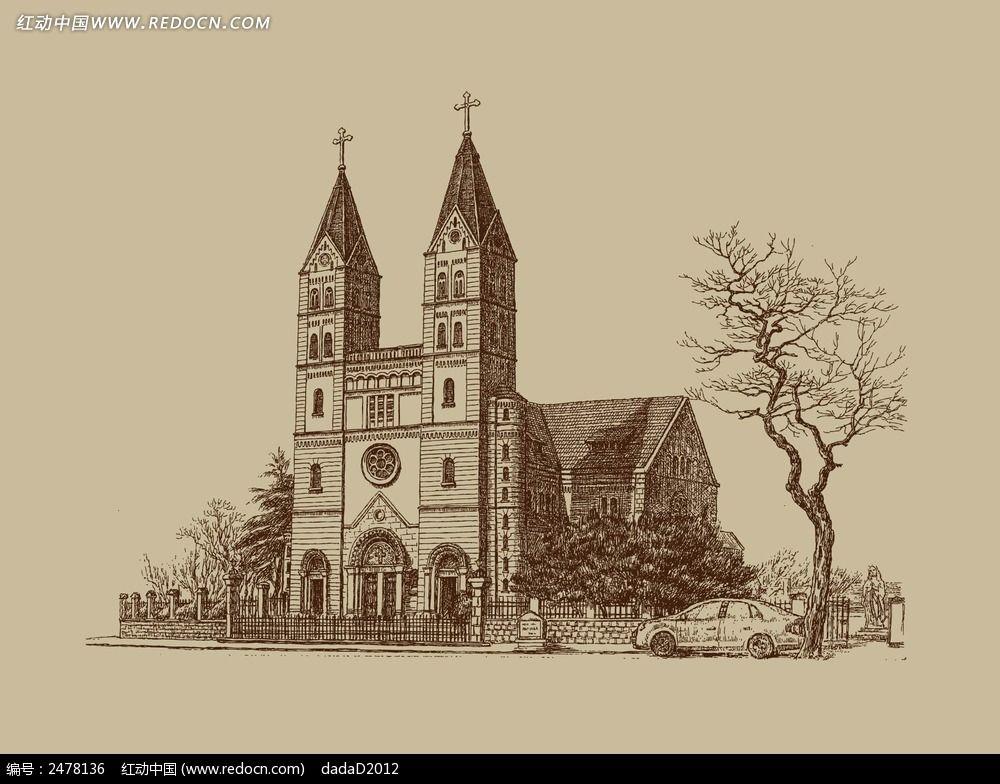 原创设计稿 卡通图片/插画 风景插画 青岛天主教教堂手绘素材  请您分图片