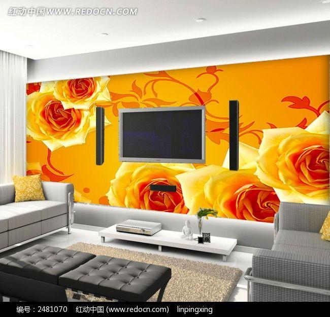 牡丹客厅电视背景墙墙纸