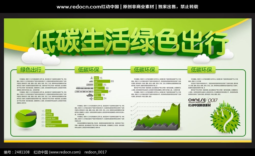 绿色出行文明展板设计素材