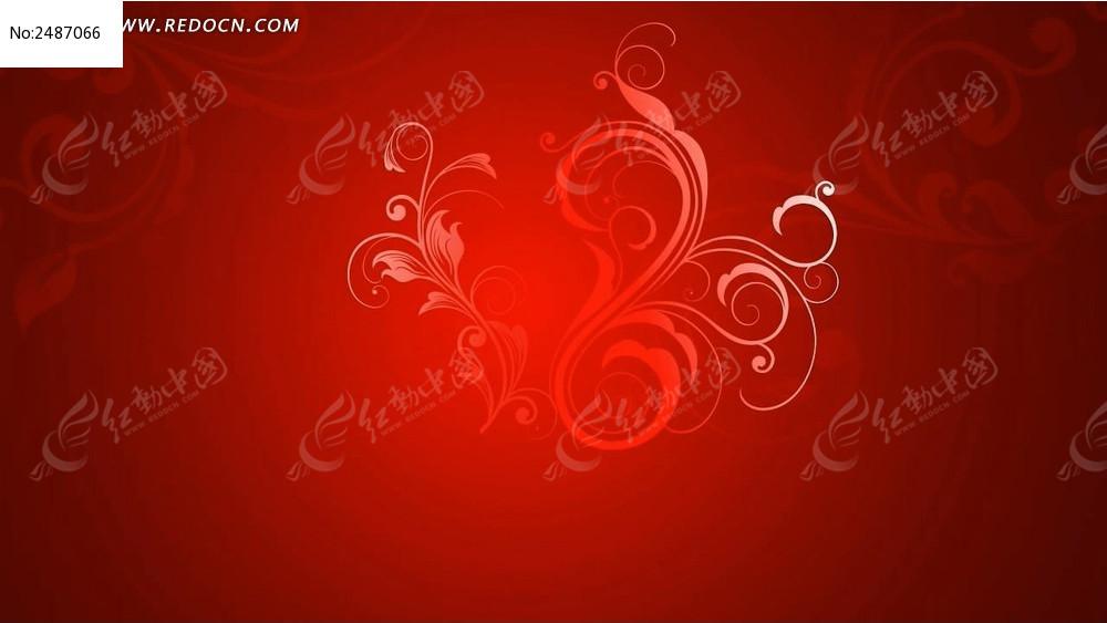 视频_喜庆红色花纹生长视频