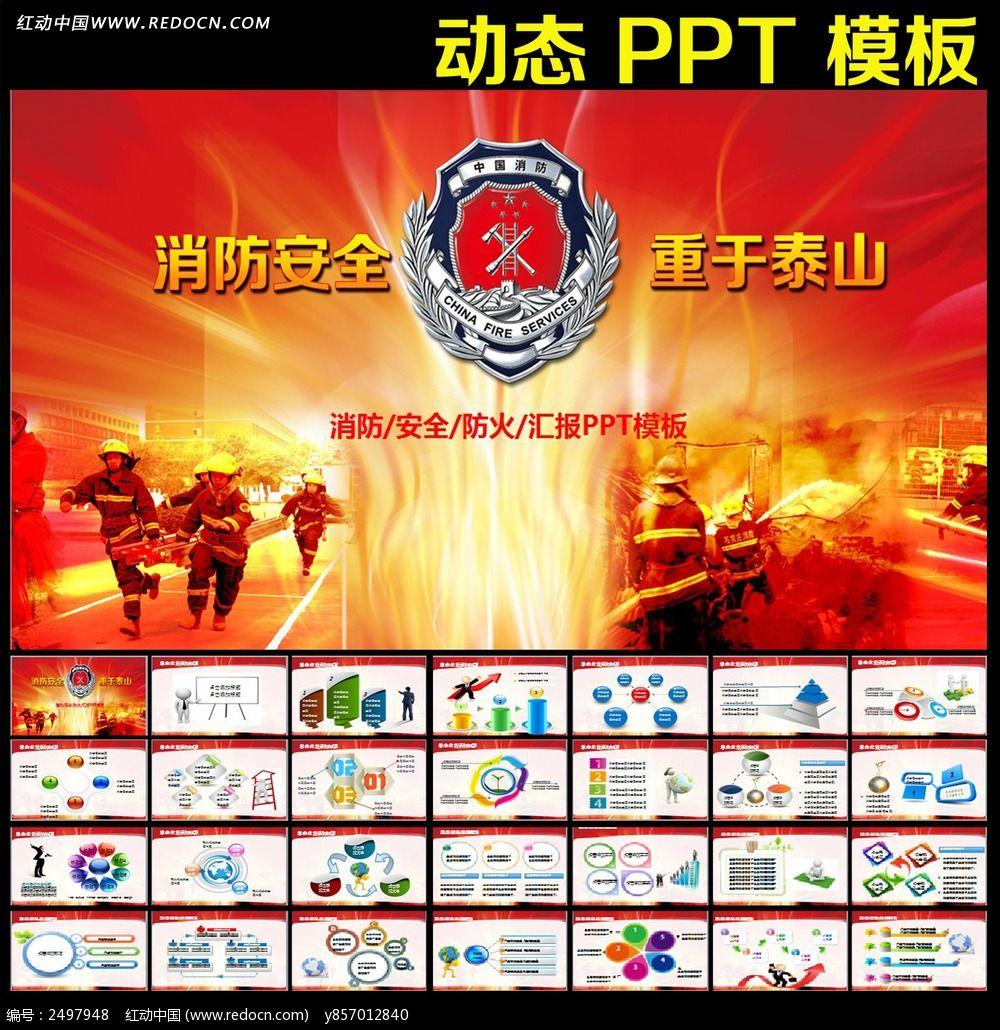 消防安全防火汇报动态ppt图片