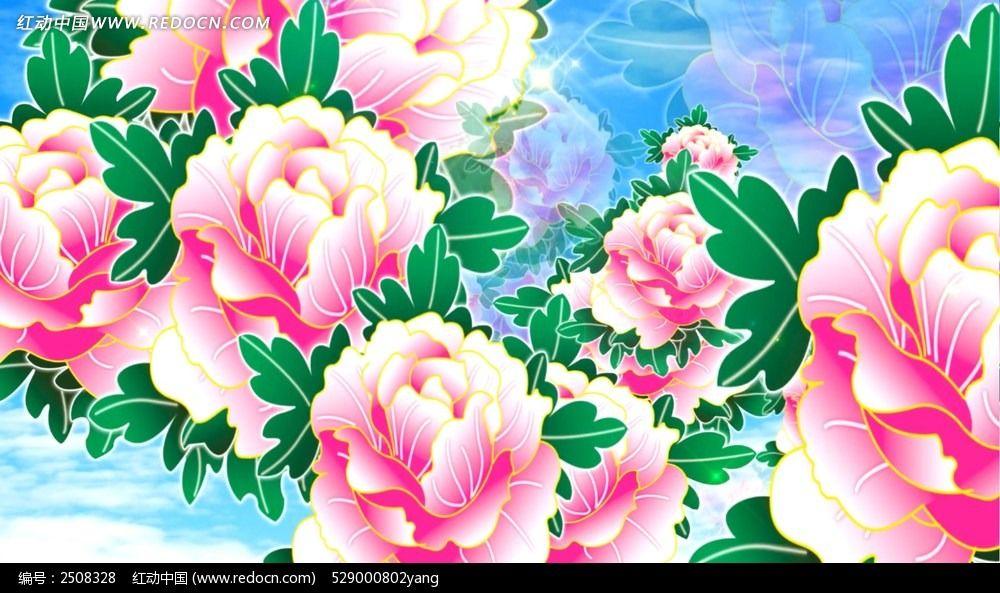 手绘牡丹花视频动态背景