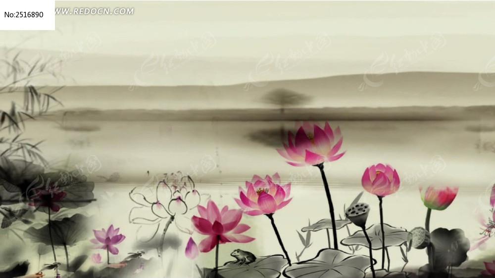 荷花风手机中国led素材视频照片合成视频软件水墨图片