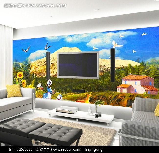电视装饰画 现代简约电视背景墙 装饰背景墙 客厅装饰 电视墙设计