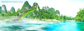 美丽湖面美景视频 大型舞台背景视频