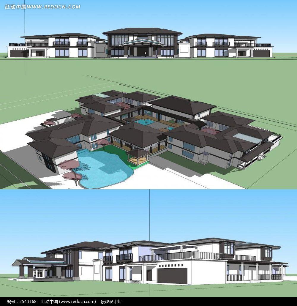 原创设计稿 3d模型库 景观全模 中式会所su建筑模型图片