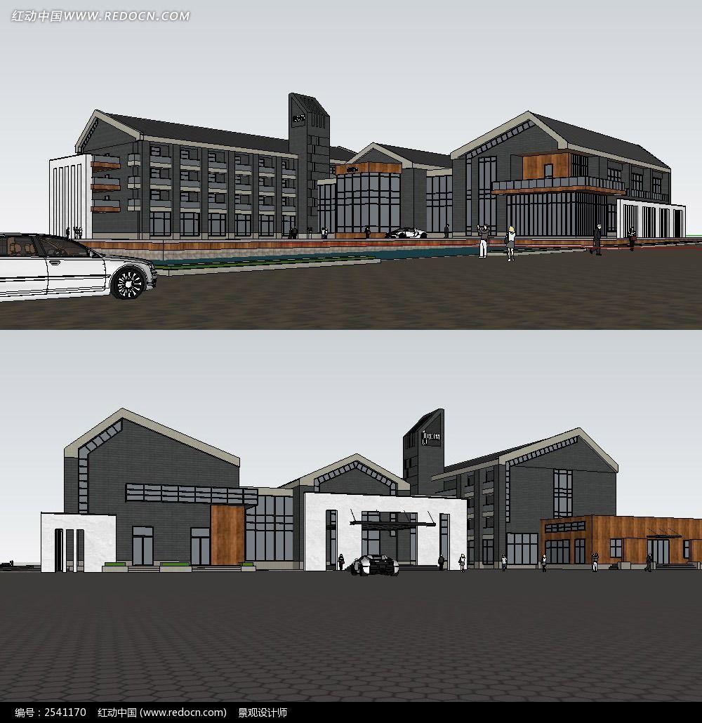 原创设计稿 3d模型库 景观全模 中式会所建筑su模型图片