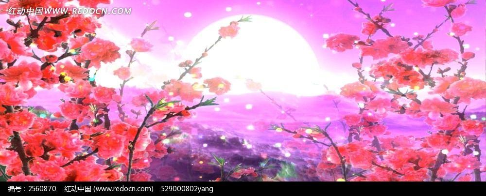 手绘唯美桃花林图片