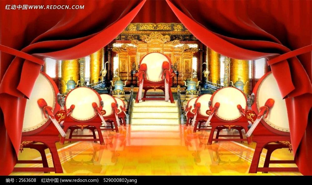 古代宫殿打鼓视频背景图片