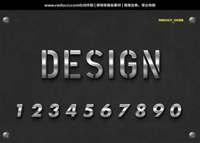 0-9纹理立体字体