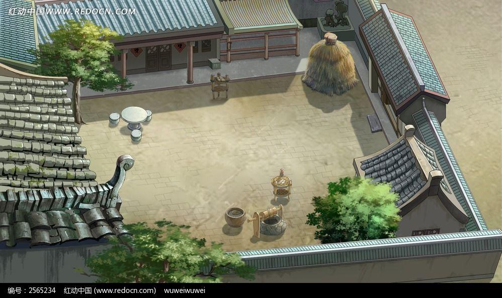古代四合院俯视psd分层素材