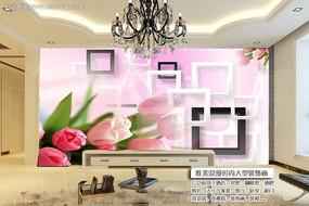 梦幻树玫瑰3D电视背景墙装饰画