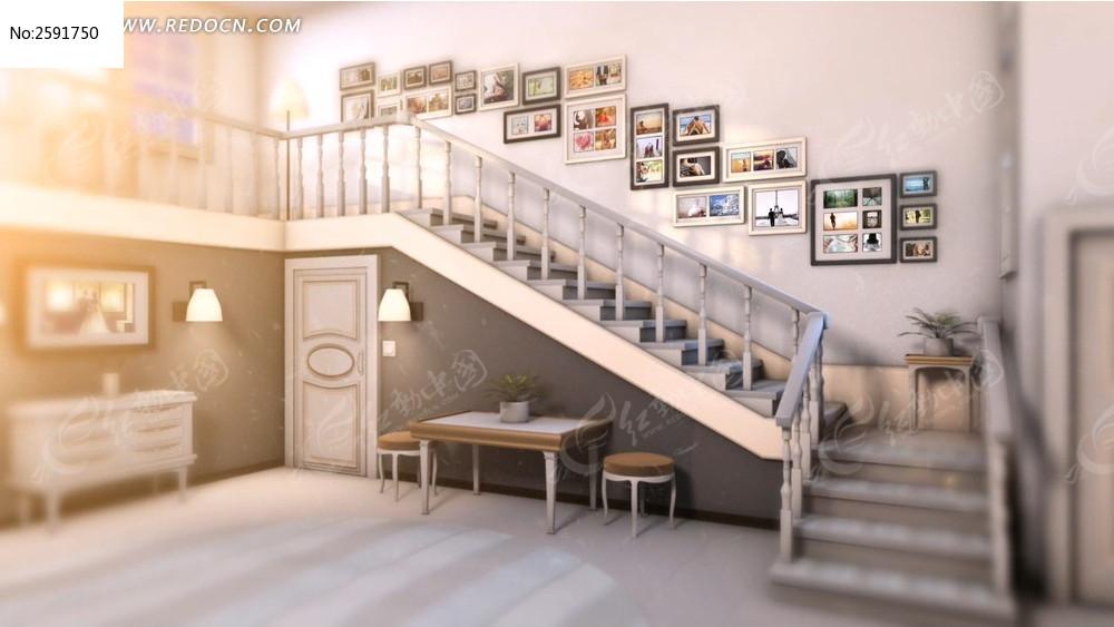 阶梯画廊婚庆家庭个人相册ae模板图片