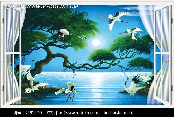 浪漫月色3d立体油画山水风景背景墙装饰画