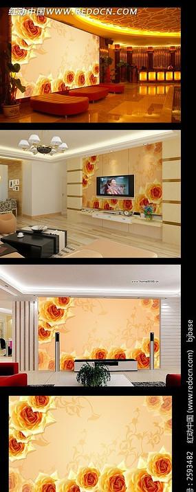 浪漫玫瑰电视背景墙装饰画