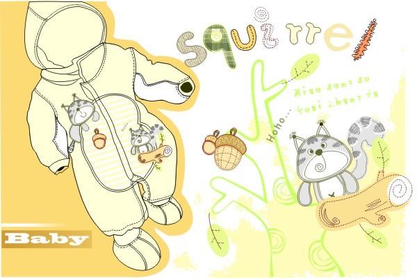 卡通cdr模板 可爱图案 卡通素材 矢量图 树木 叶子 婴装 松果 松鼠插画
