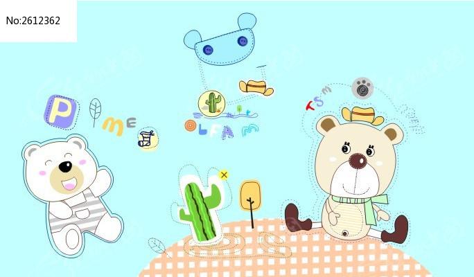 可爱卡通动物印花图案素材psd下载