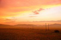 乌兰布统草原的夕阳美景