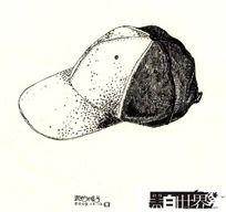 我的帽子黑白插画