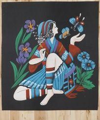 少数民族女人和蝴蝶油画