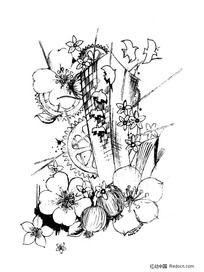 黑白插画-花鸟与建筑