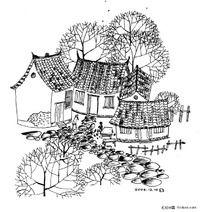 黑白插画-农家小院