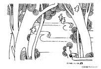 黑白插画-小树林