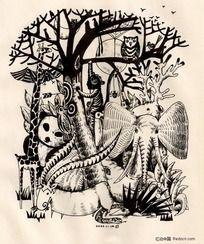 手绘黑白插画-动物世界