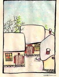 手绘蜡笔插画-冬