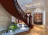 别墅楼梯下水景