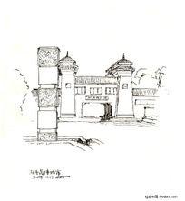 建筑小景黑白插画
