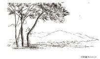 树林与远山黑白插图