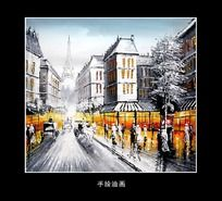 风景油画街景