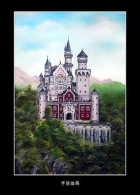 油画风景德国新天鹅城堡