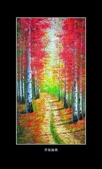 油画风景秋天的白桦林