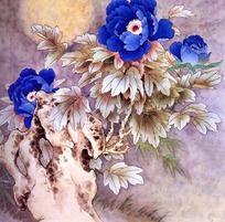 蓝色牡丹花