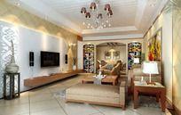 欧式风格家居设计客厅效果图设计3D图片