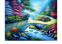 小桥流水风景油画
