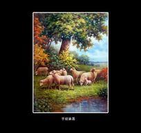 风景牧羊油画