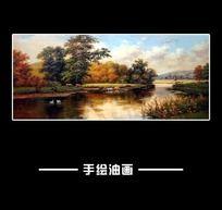 平静乡村河流油画
