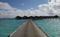 通往海上度假屋的木桥