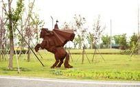 公园里的骑士雕塑