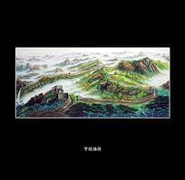长城风景油画