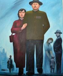 吉鸿昌和爱人油画