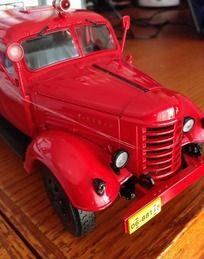 红色解放消防车车模