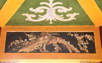古典水彩花鸟浮雕凉亭壁画