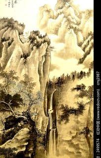 雄伟的高山瀑布国画