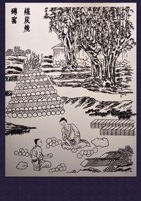 砖窑煤炭烧工艺线描图