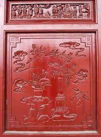 门上花图案雕刻