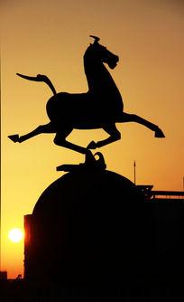 马雕塑剪影